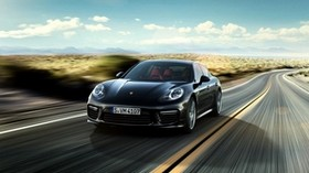 porsche, panamera, black, speed - wallpapers, picture