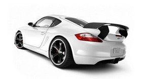 porsche, white, auto, gray, rear view - wallpapers, picture