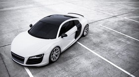 r8, audi, white, top view - wallpapers, picture