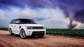 range rover, car, white, field, grass, sky, clouds - wallpapers, picture