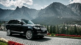 range rover, black, side view, mountains - wallpapers, picture