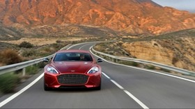 rapide s, car, road, movement, mountains - wallpapers, picture