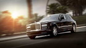 rolls royce, phantom, luxury, side view, black, movement - wallpapers, picture