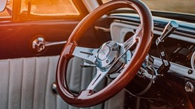 steering wheel, car, retro, old, salon - wallpapers, picture