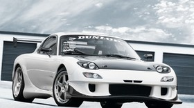 rx-7, white, mazda, dunlop - wallpapers, picture