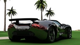 scorpion, auto, convertible, black, rear view - wallpapers, picture