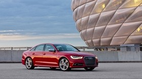 sedan, s6, audi, red, side view - wallpapers, picture