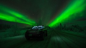 northern lights, car, starry sky, road, winter - wallpapers, picture