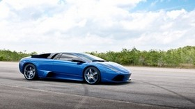 blue, road, lamborghini - wallpapers, picture