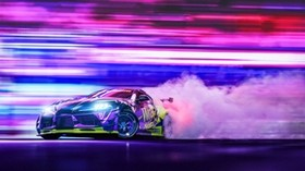 sports car, drift, neon, smoke, speed - wallpapers, picture