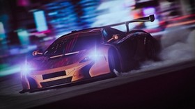 sports car, drift, speed, night, light, smoke - wallpapers, picture