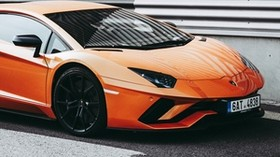 sports car, side view, orange, stylish - wallpapers, picture