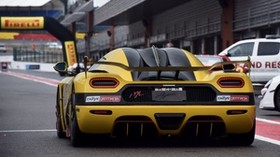 sports car, yellow, rally, rear view - wallpapers, picture