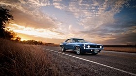 ss, classic, american, camaro, chevrolet, 1969, blue - wallpapers, picture