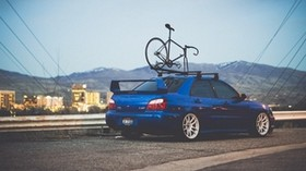 subaru, auto, blue, bike - wallpapers, picture