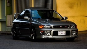 subaru impreza rs, subaru, machine, gray, side view - wallpapers, picture