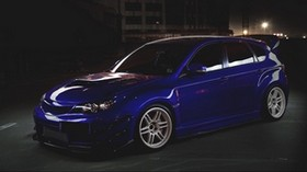 subaru, impreza, blue, side view - wallpapers, picture