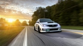 subaru impreza wrx, ​​movement, car, road - wallpapers, picture