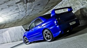 subaru, impreza, wrx, ​​wall, tunnel, machine, auto, subaru, impreza, blue, sports, sedan - wallpapers, picture