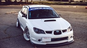 subaru impreza, wrx sti, white, car - wallpapers, picture