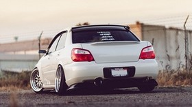 subaru impreza wrx sti, white, rear view - wallpapers, picture