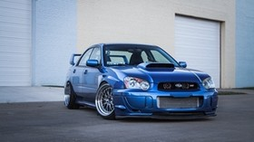 subaru, impreza, wrx, ​​sti, blue, subaru, impreza, blue, garage - wallpapers, picture