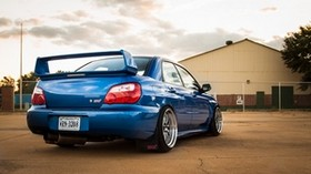 subaru, impreza, wrx, ​​sti, blue, subaru, impreza, blue, rear view - wallpapers, picture