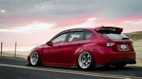 subaru, impreza, wrx, ​​sti, tuning, jdm, red - wallpapers, picture