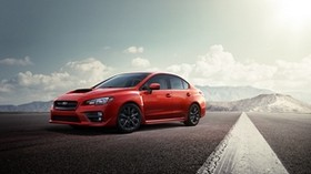 subaru, red, road, side view - wallpapers, picture
