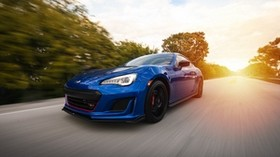 subaru, speed, car, road, movement, blue - wallpapers, picture