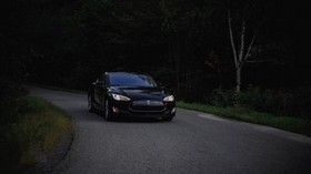 tesla, car, asphalt, dark, forest - wallpapers, picture