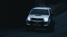 toyota hilux, toyota, car, SUV, gray, road, dark - wallpapers, picture