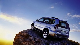 toyota, land cruiser, prado, gray, rear view - wallpapers, picture