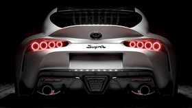 toyota supra, toyota, sports car, white, rear view, backlight - wallpapers, picture
