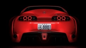 toyota supra, toyota, sports car, red, rear view, dark, backlight - wallpapers, picture