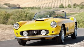 vintage, ferrari, convertible, yellow - wallpapers, picture