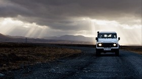 SUV, road, evening, sky - wallpapers, picture