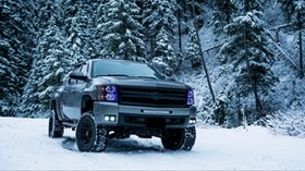 SUV, winter, snow, trees - wallpapers, picture
