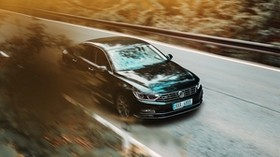 volkswagen, car, black, business class, road, asphalt, movement - wallpapers, picture