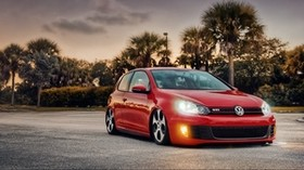 volkswagen, bagged, mk6, gti, red, side view - wallpapers, picture