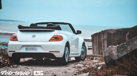 volkswagen beetle, convertible, white, sea - wallpapers, picture