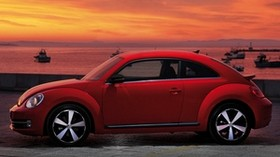 volkswagen, fusca, red, side view - wallpapers, picture