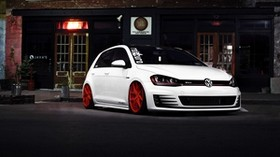 volkswagen golf, gti, white, front view - wallpapers, picture