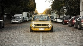 volkswagen, golf, mk1, yellow, front view - wallpapers, picture
