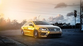 volkswagen, passat, cc, golden, fog - wallpapers, picture