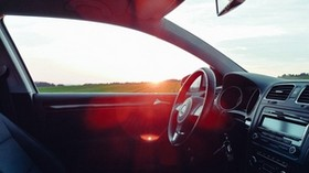 volkswagen, salon, steering wheel, car, sunset, glare - wallpapers, picture