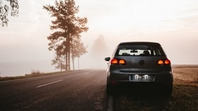 volkswagen, fog, car, road, dusk - wallpapers, picture