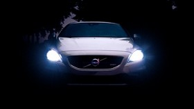 volvo v40, volvo, lights, light, front view, night - wallpapers, picture