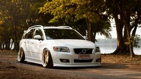 volvo, v50, tuning, white, front view - wallpapers, picture
