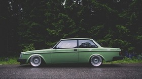 volvo, volvo 242, green, side view - wallpapers, picture